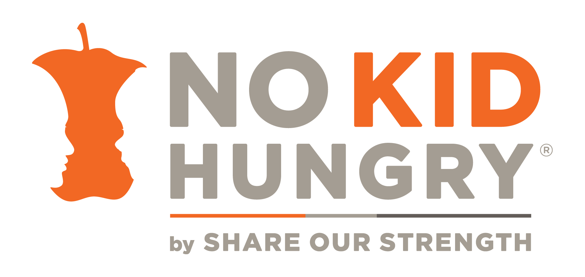 No Kid Hungry logo. Two faces looking at each other as cutouts from apple.